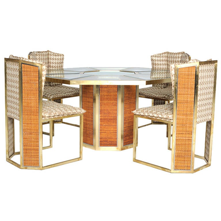Dinning set upholstered in gancedo 39 s cotton and wool for 1970 dining room set