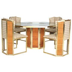 Dinning Set Upholstered in Gancedo's Cotton and Wool Pattern, 1970