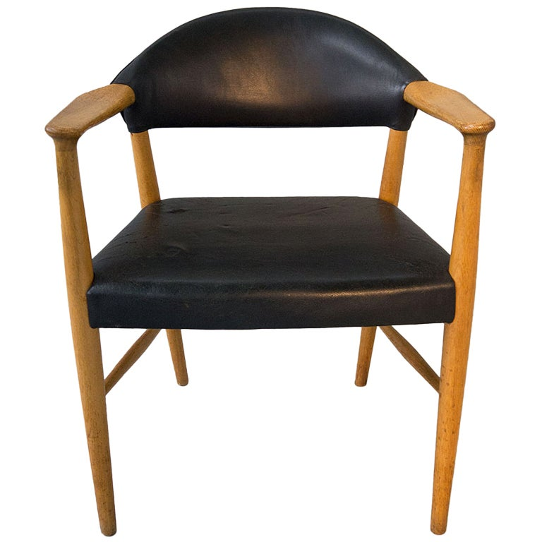 Danish Modern Oak Leather Desk Office Arm Chair At 1stdibs