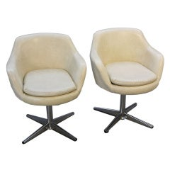 Pair of Danish Modern Swedish Swivel Arm Chairs