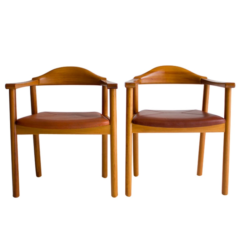 Danish Modern Teak Captians Chairs For Form 57