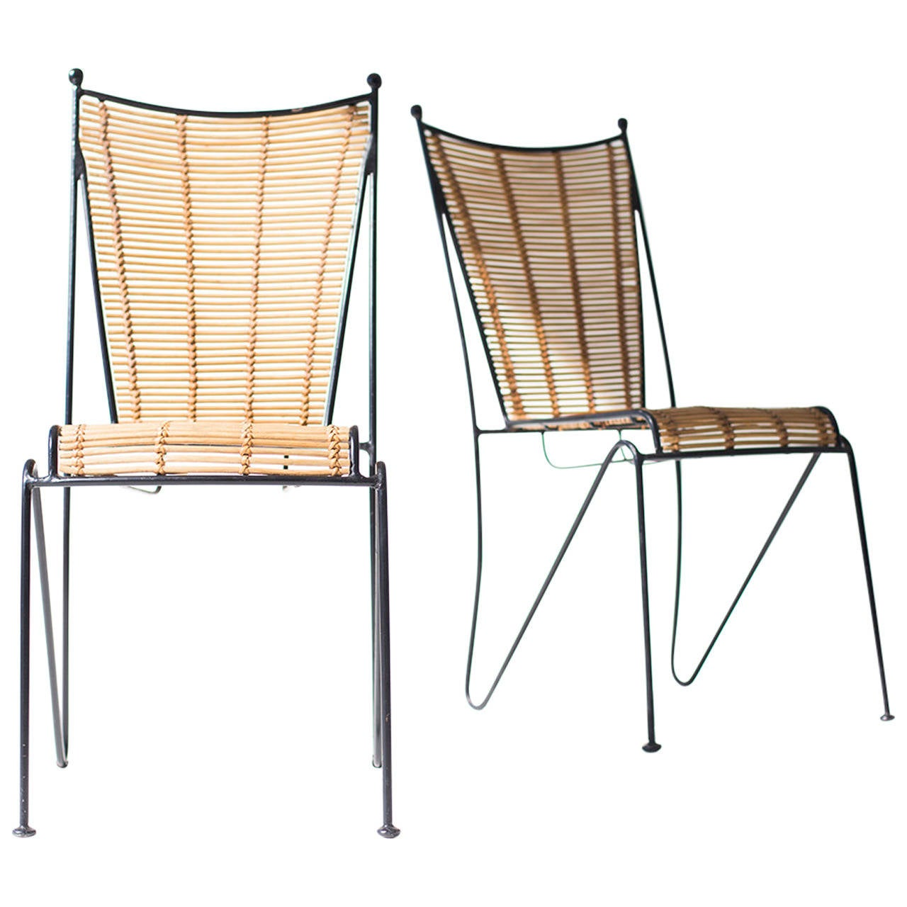 Ficks Reed Attributed Iron and Bamboo Side Chairs at 1stdibs