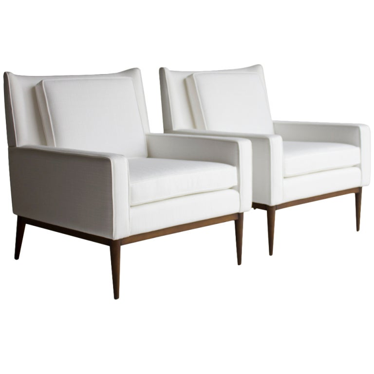 XXX OL PAUL MCCOBB WHITE LOUNGE CHAIR PAIR A