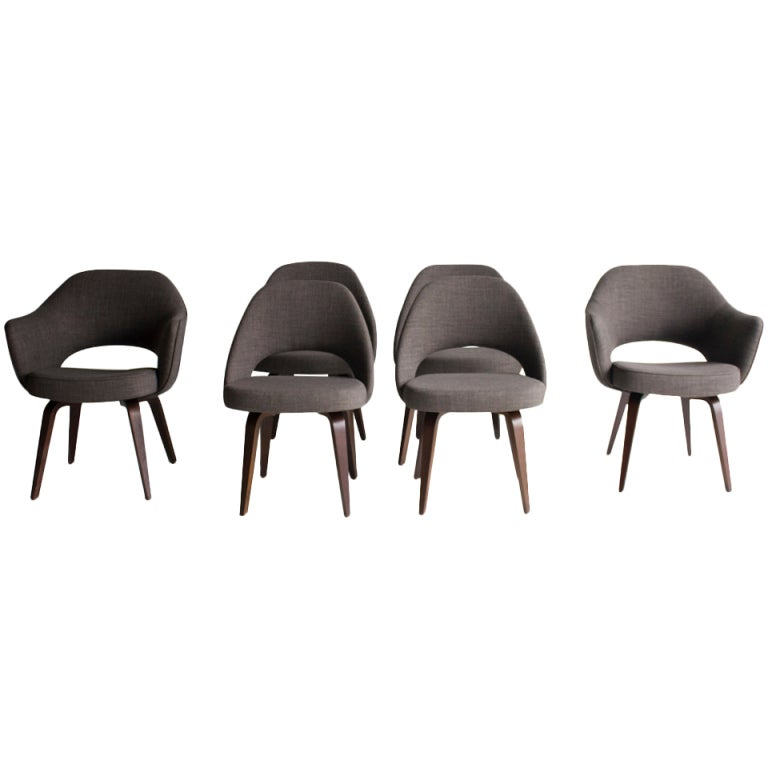 Superior Eero Saarinen Executive Chairs With Wood Legs For Knoll International For  Sale