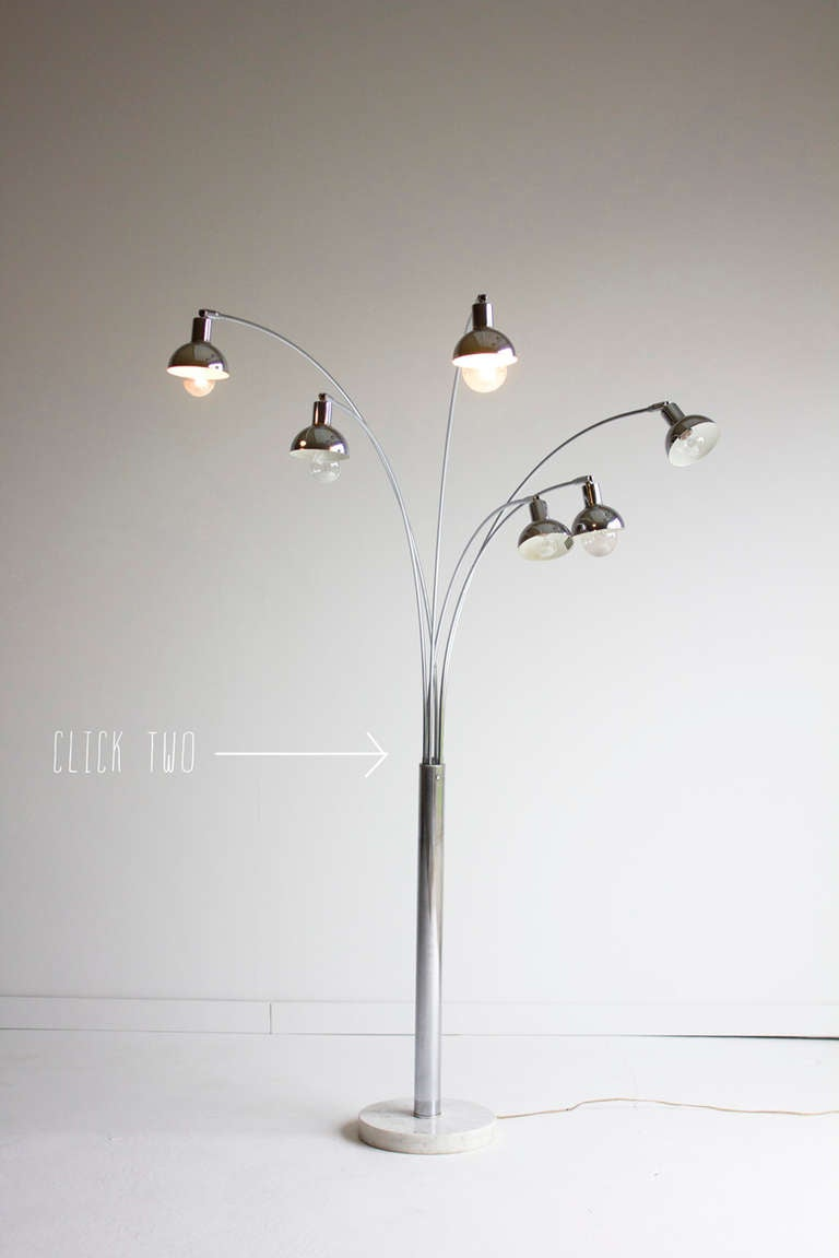 six arm arc floor lamp for mutual sunset lighting company at 1stdibs. Black Bedroom Furniture Sets. Home Design Ideas