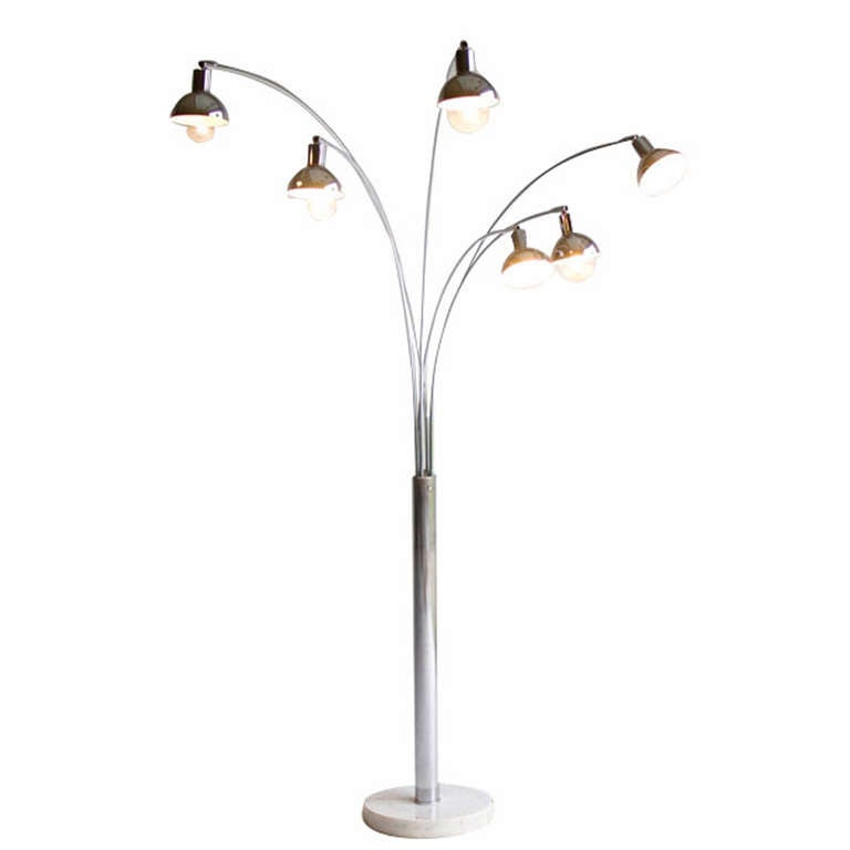 Six arm arc floor lamp for mutual sunset lighting company for Homebase chandelier floor lamp
