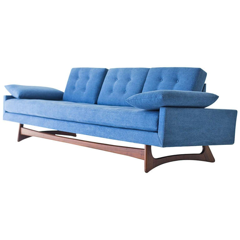 Adrian Pearsall Sofa For Craft Associates In Denim At 1stdibs