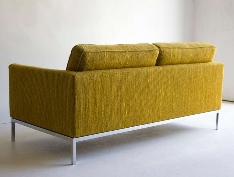 Florence Knoll Two Seat Sofa in Original Cato Fabric for Knoll International  This two seat sofa is in very good vintage condition. Normal wear to Cato fabric and chrome base.   Arm Height: 23 in. (58.4cm) Seat Height: 18 in. (45.7cm) Seat