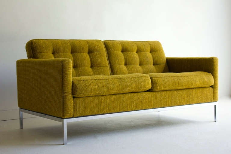 American Florence Knoll Two Seat Sofa in Original Cato Fabric for Knoll International