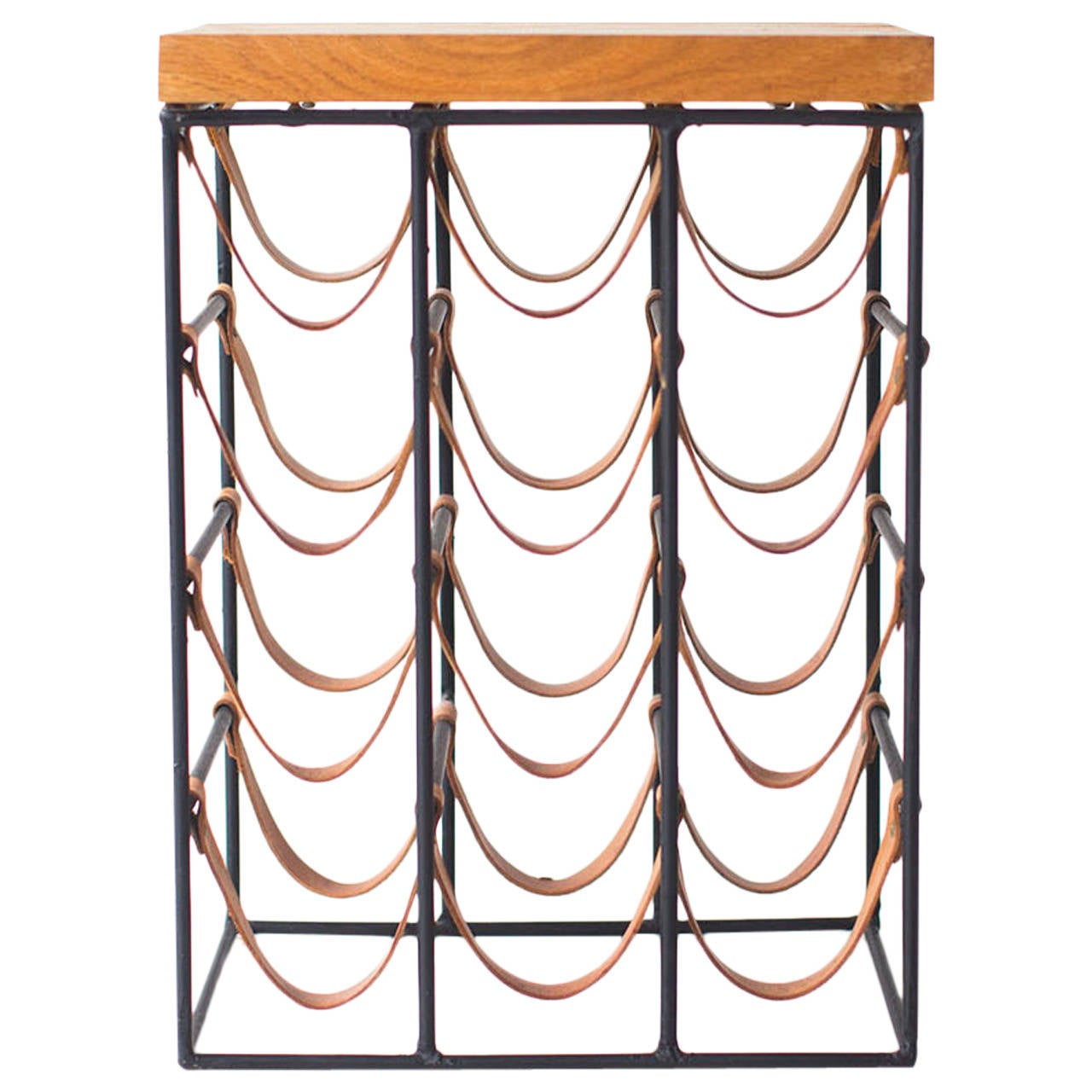 Arthur Umanoff Wrought Iron and Leather Wine Rack For Sale at 1stdibs