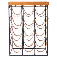 Arthur Umanoff Wrought Iron and Leather Wine Rack
