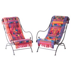 Mid-Century Wrought Iron Lounge Chairs