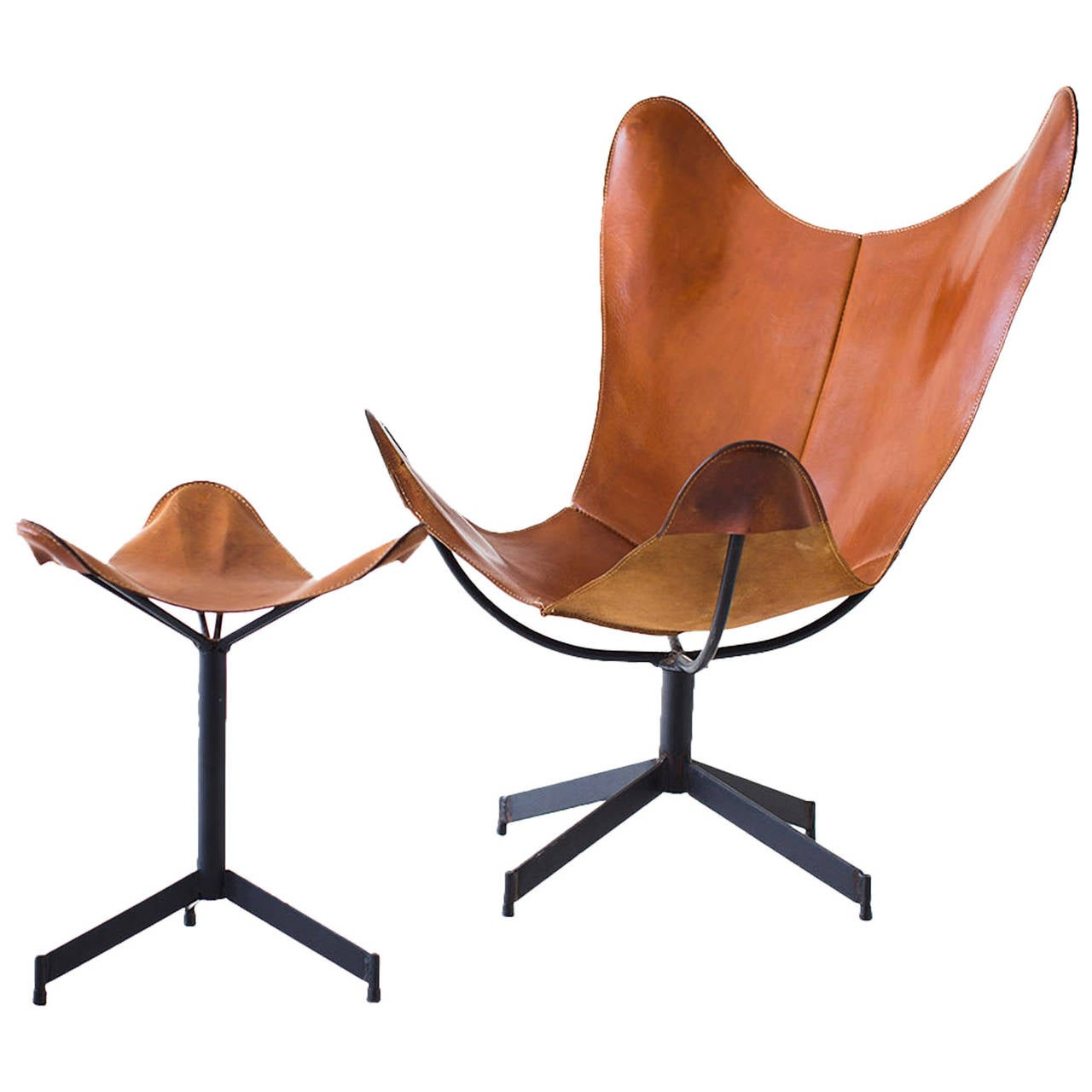Leather Sling Chair And Ottoman For Leathercrafter At 1stdibs