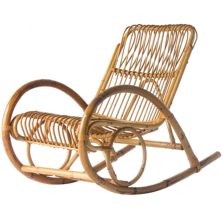 franco albini style wicker rocking chair at 1stdibs