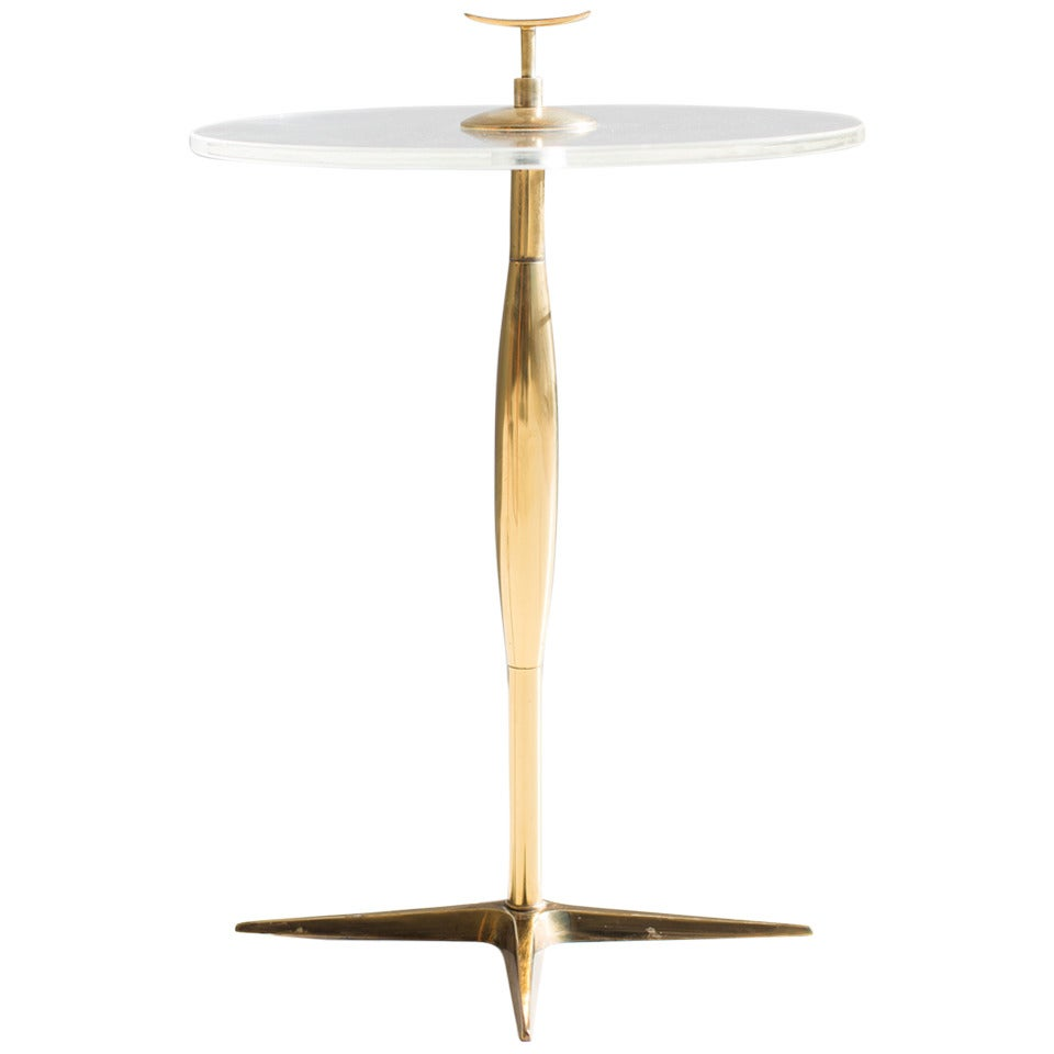 Stiffel Brass and Lucite Side Table at 1stdibs