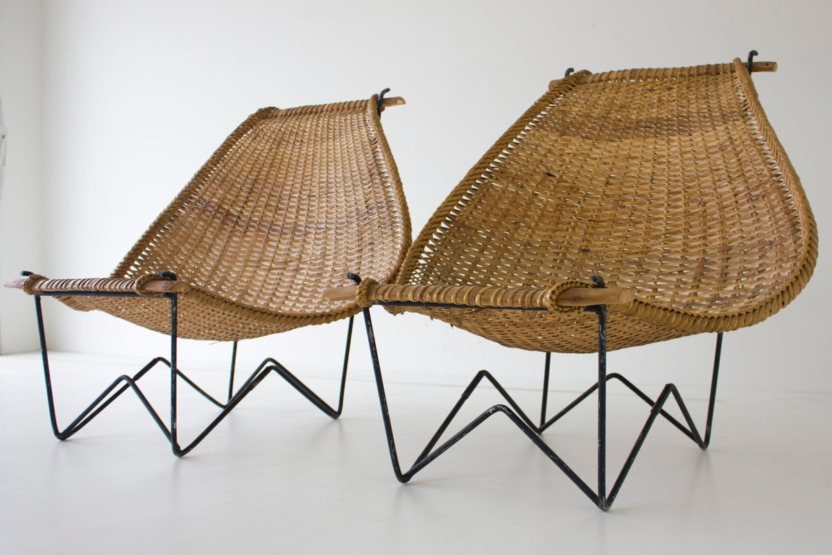 Duyan Rattan Lounge Chairs by John Risley at 1stdibs