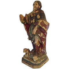 18th Century Carved and Polychrome Statue of Saint Roch