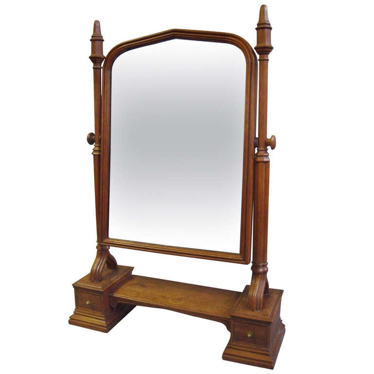 An Impressively Large C19th Gothic Oak Dressing Table Mirror 1
