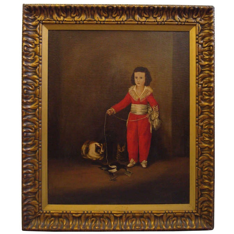 A Charming 19th Century Oil Painting of Child Playing with ... - photo#29