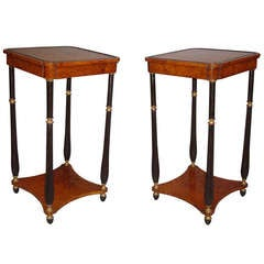 An Elegant Pair of Rare Regency Amboyna Occasional Tables
