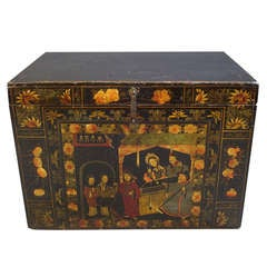 Unusual Decorative 19th Century Lacquered Chinese Trunk