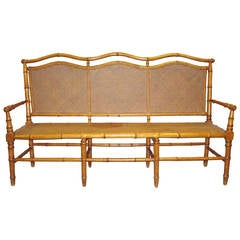 Stylish 19th Century Cherrywood Faux Bamboo Settee or Hall Seat