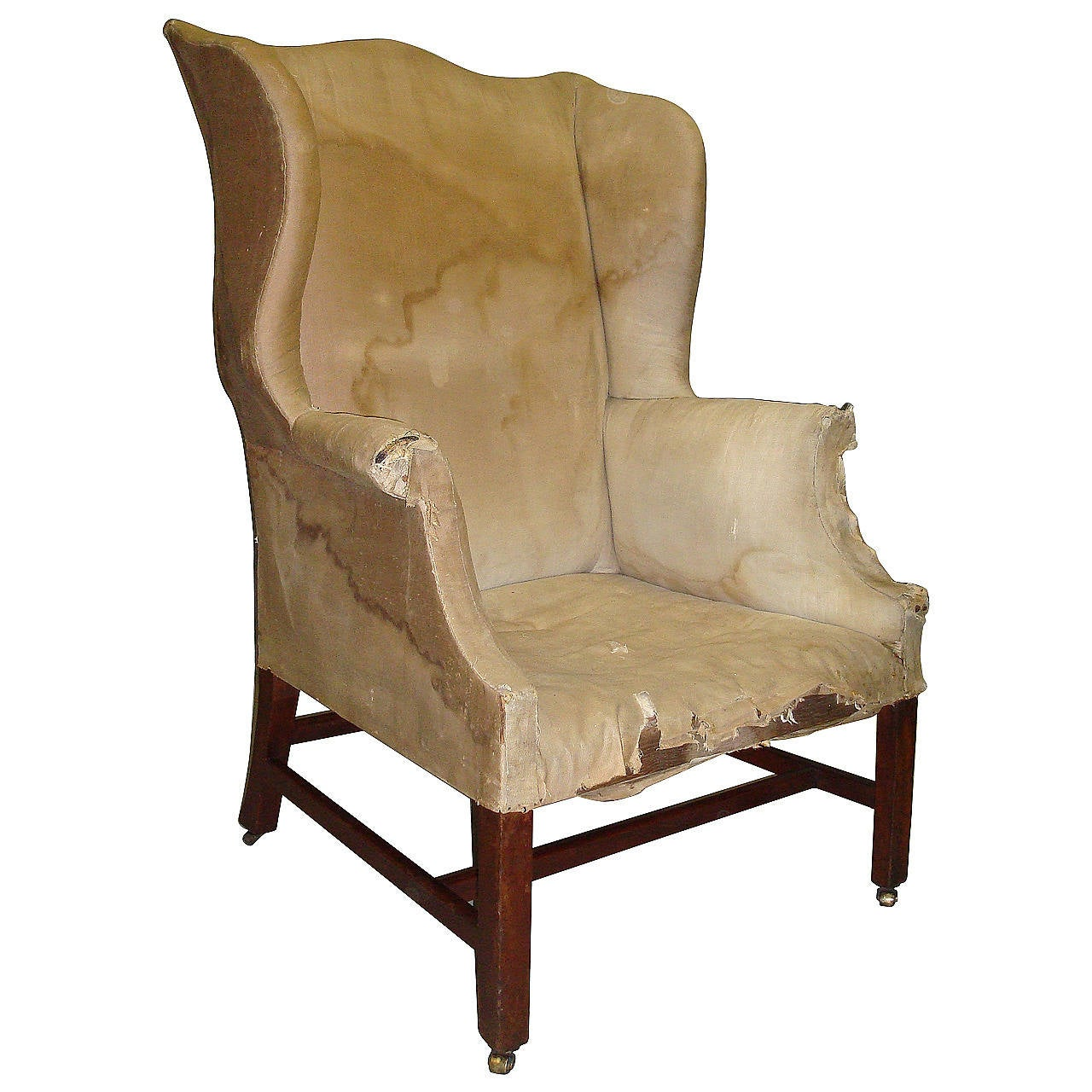 Good Shapely Georgian Mahogany Wing Chair 1