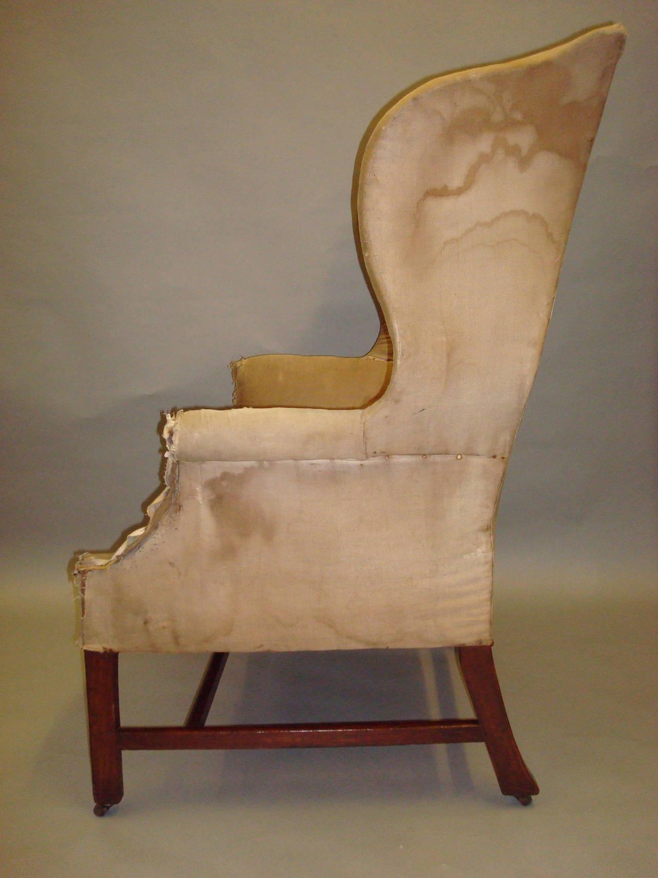 Good Shapely Georgian Mahogany Wing Chair At 1stdibs