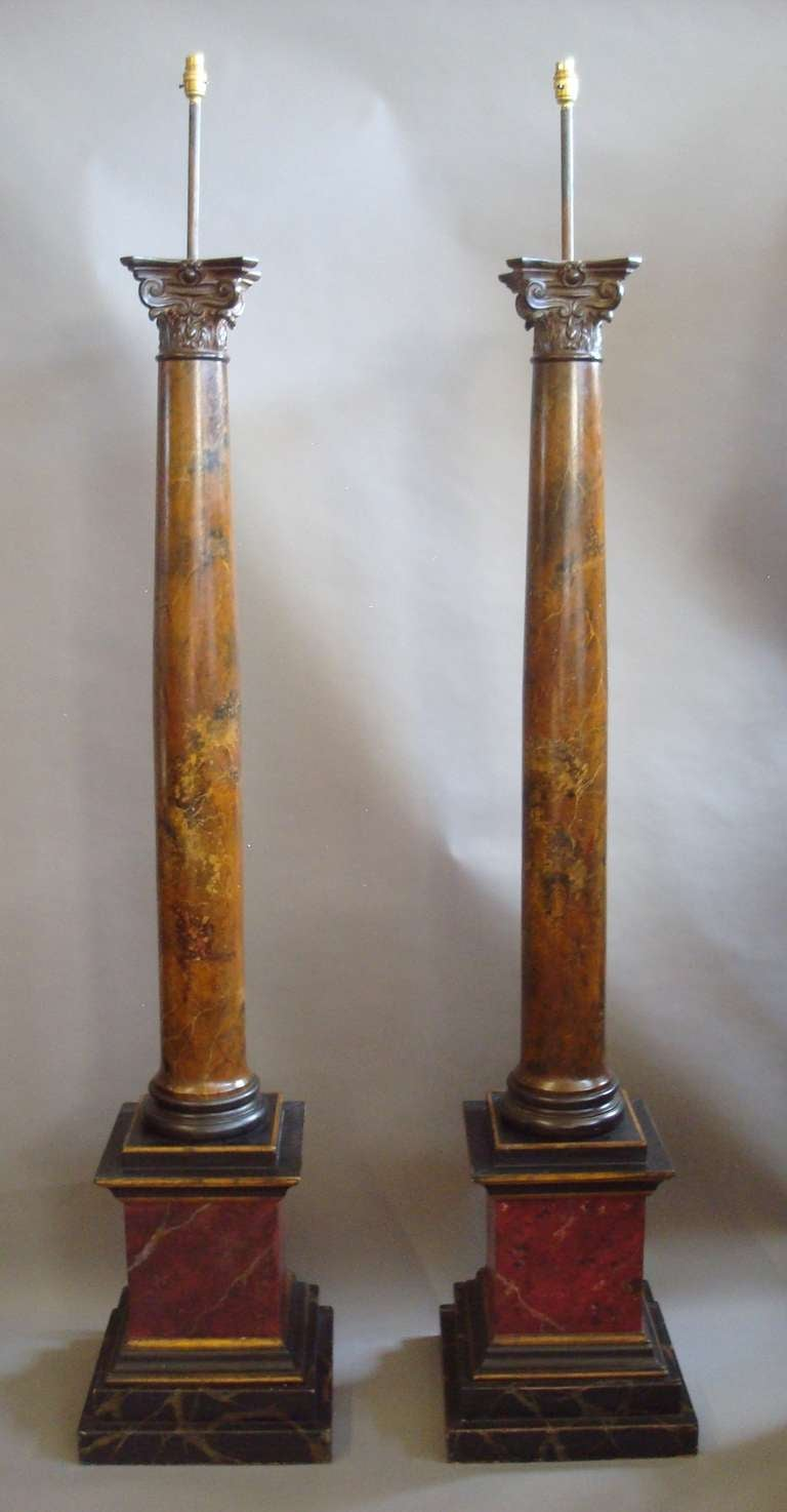 A very decorative pair of 19th century painted columns for Decorative column
