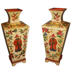 Early 20th century Decorative Pair of Large Painted Pine Vases