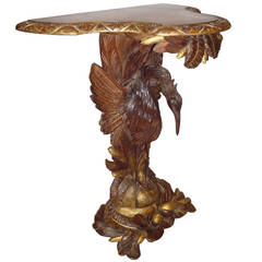 Good 19th Century Carved Walnut and Gilt Heron Console Table