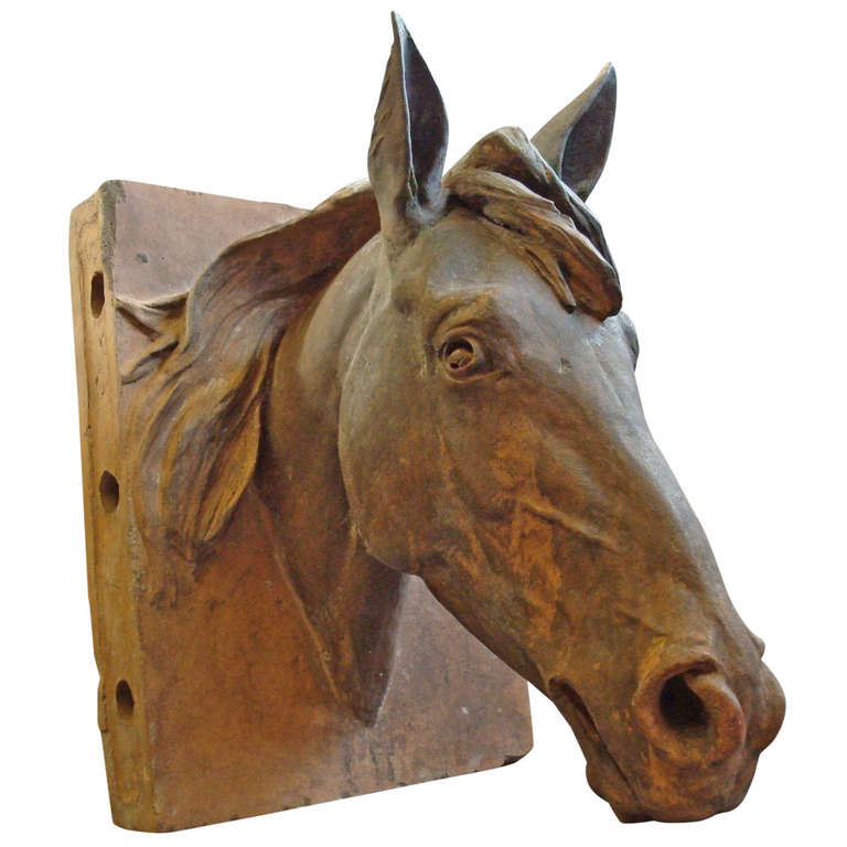 An Impressive C19th Terracotta Life Size Horses Head For Sale