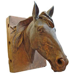 An Impressive C19th Terracotta Life Size Horses Head