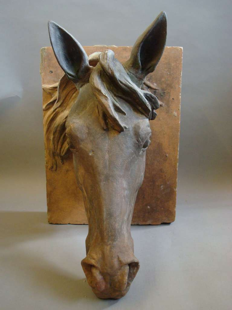An Impressive C19th Terracotta Life Size Horses Head For Sale 4
