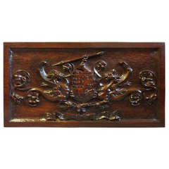 Late 19th Century Carved Walnut Armorial Panel