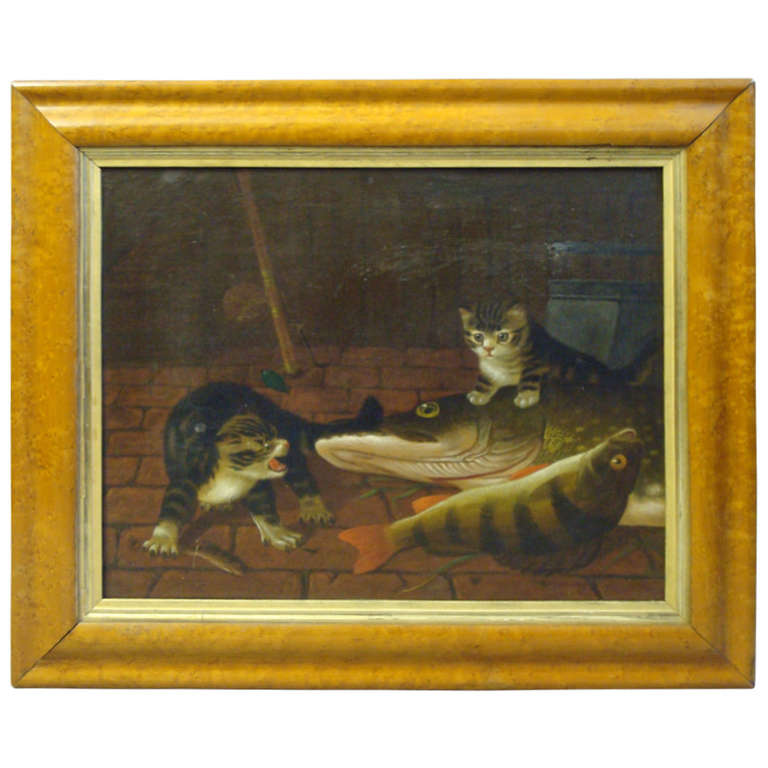 Mid 19th Century Oil Painting on Canvas of Cats with Fish
