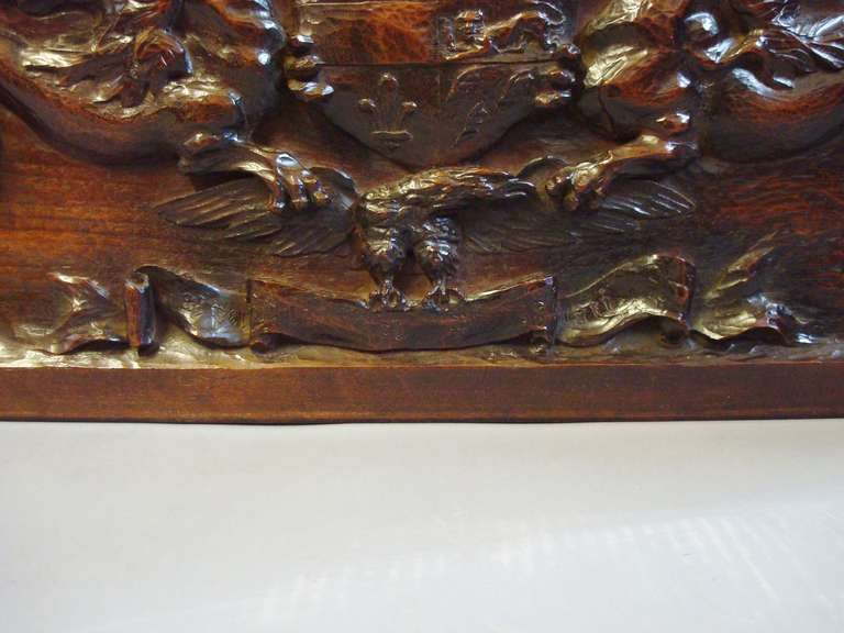 English Late 19th Century Carved Walnut Armorial Panel For Sale
