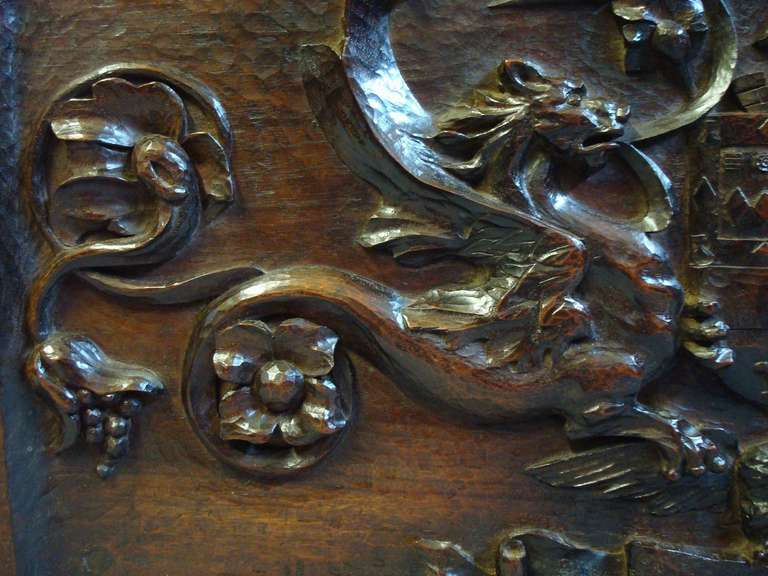 Late 19th Century Carved Walnut Armorial Panel For Sale 1