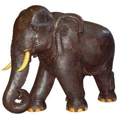 Impressive Early C20th Carved Hardwood Indian Elephant (Wooden Tusks/Toes)