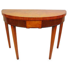 A Good George III Satinwood Semi Eliptical Fold Over Tea Table