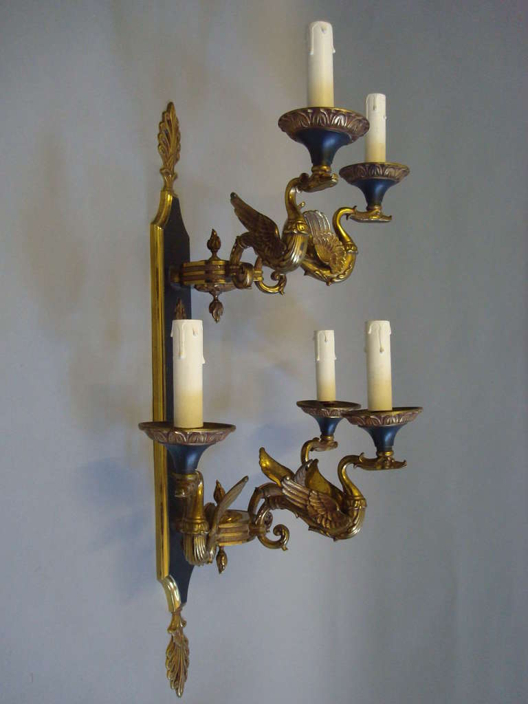 Exceptional empire style set of four large gilt brass wall sconces exceptional empire style set of four large gilt brass wall sconces lights 3 amipublicfo Image collections
