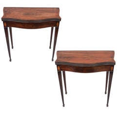 Fine and Rare Pair of Geo III Mahogany Serpentine Card Tables
