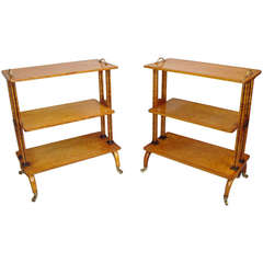 Splendid Regency Matched Pair of Maple Etageres