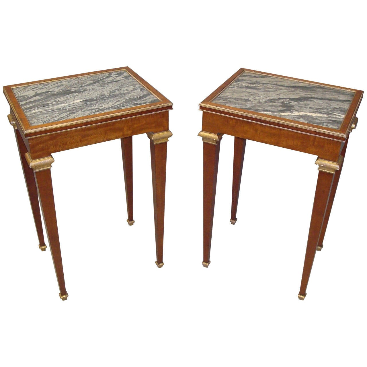 Stylish 19th century pair of mahogany with marble top end for Table th collapse