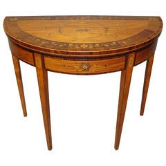 Fine George III Satinwood and Marquetry Demilune Card Table