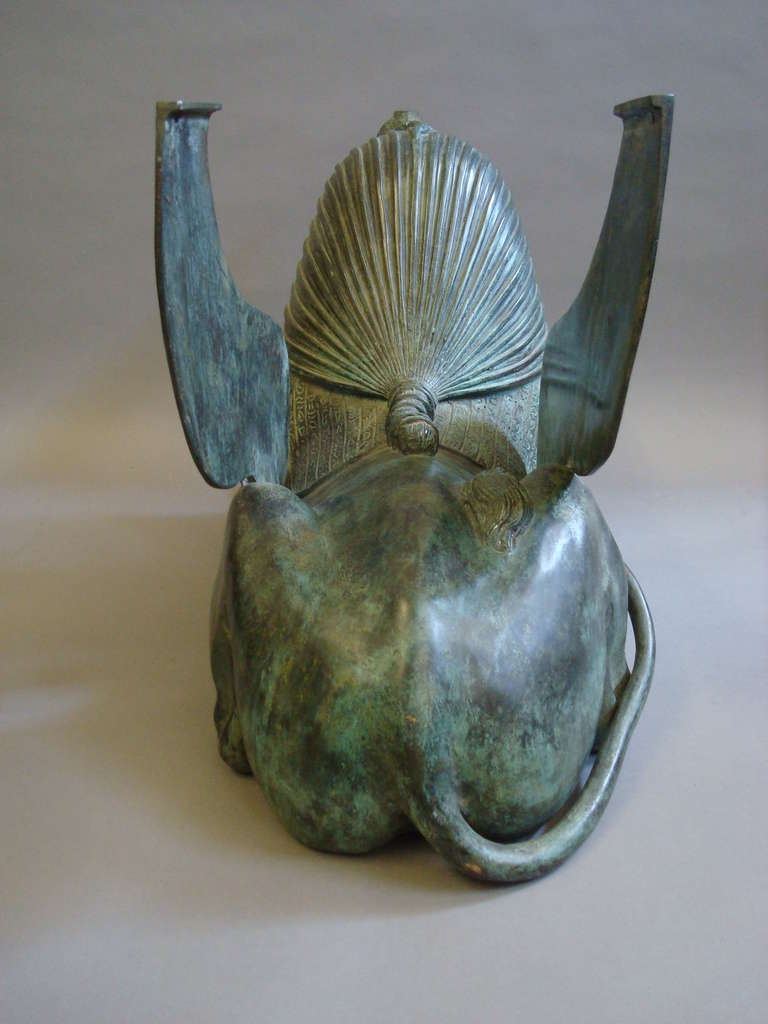 Rare Bronze Sphinx Table Base Sculpture Of Large
