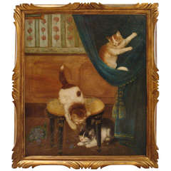 Amusing Oil Painting of Three Mischievious Cats