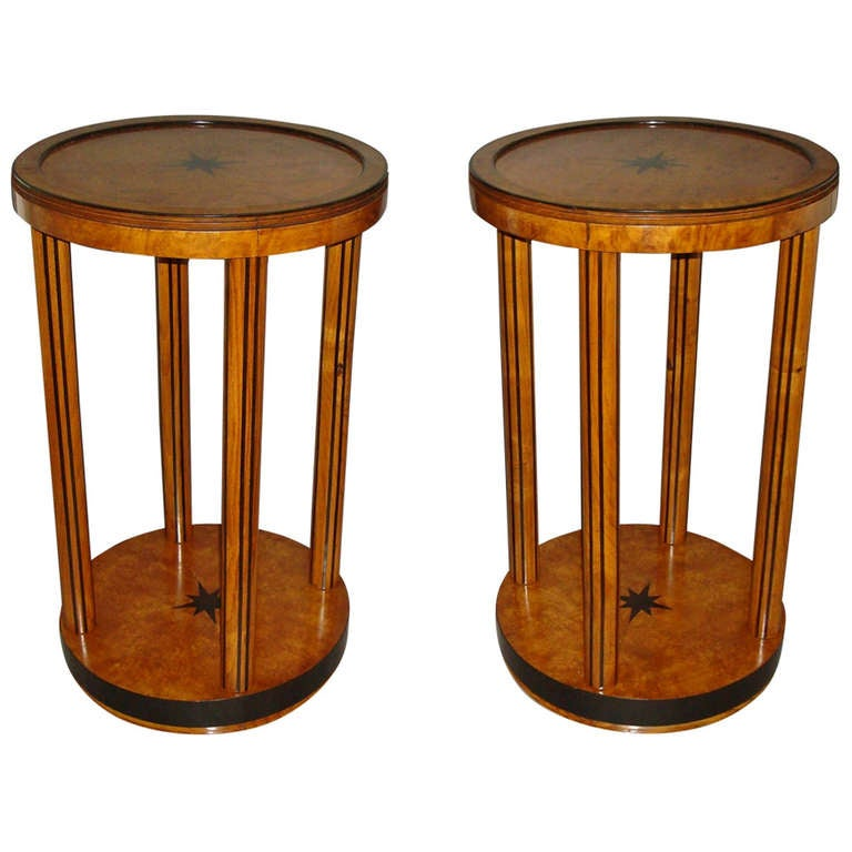 Smart Pair of Burr Elm and Ebony Occasional Tables