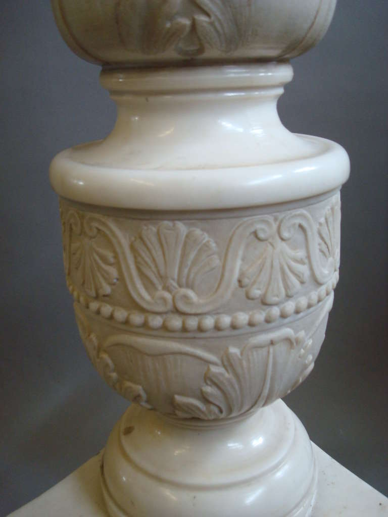 Impressive Early 19th Century Carved Marble Tazza on Pedestal In Good Condition For Sale In Moreton-in-Marsh, Gloucestershire