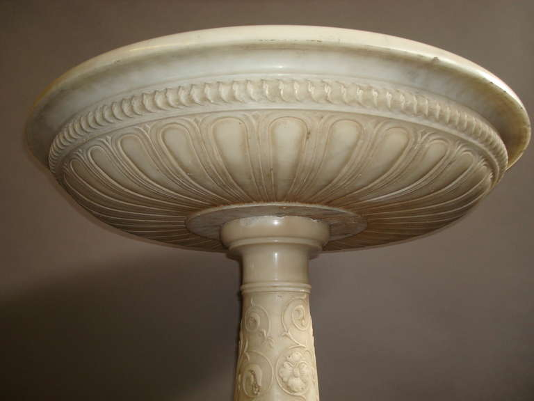 Impressive Early 19th Century Carved Marble Tazza on Pedestal For Sale 2